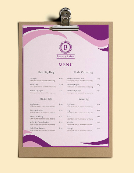 Spa Menu Template Free Lovely 23 Free Menu Templates Pdf Doc Excel Psd