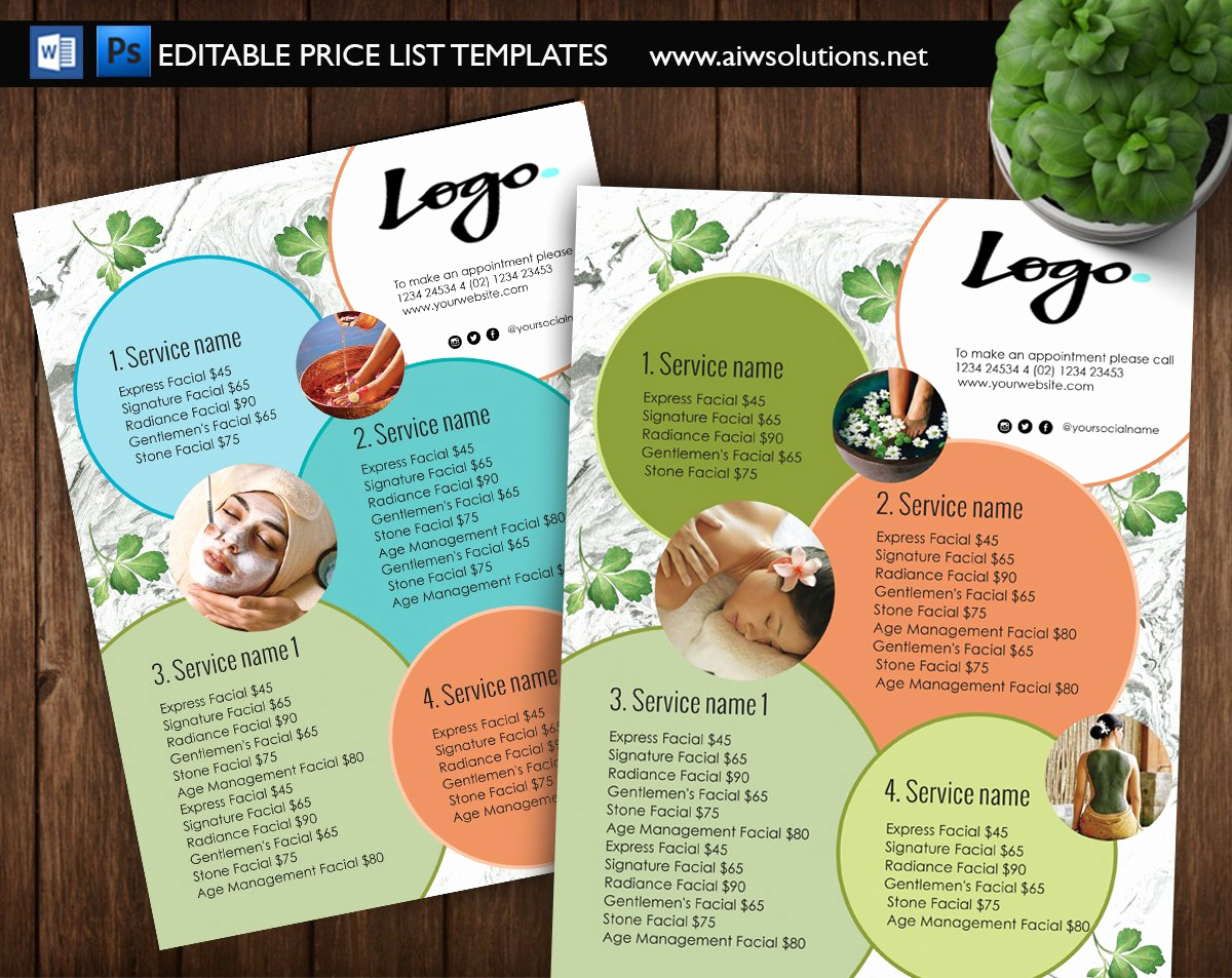 Spa Menu Template Free Lovely Spa Menu Price List Id09 Flyer Templates Creative Market