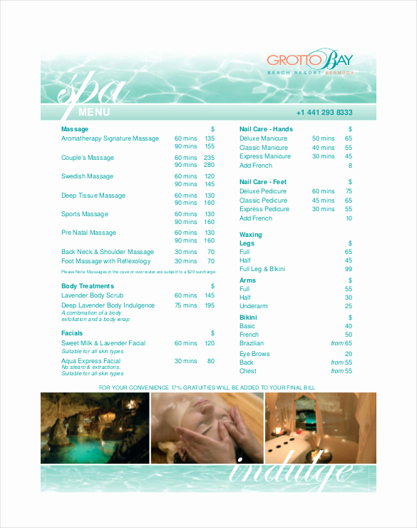 Spa Menu Template Free Luxury Salon Menu Templates Free – Jurjur