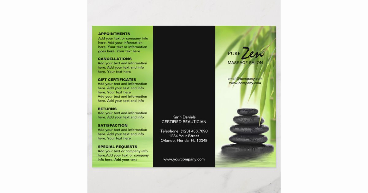 Spa Menu Template Free New Spa Massage Salon Service Menu Brochure Template