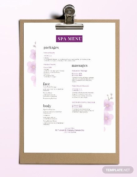 spa menu templates
