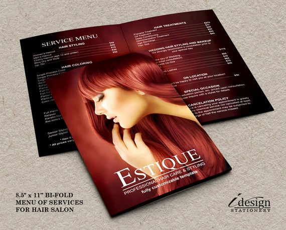 Spa Service Menu Template Awesome Items Similar to Hair Salon Service Price List