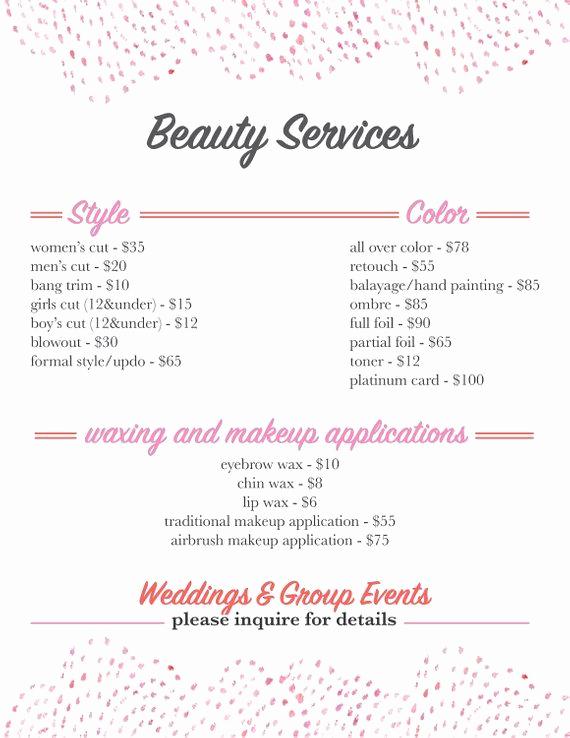 Spa Service Menu Template Awesome Salon Services Menu Template