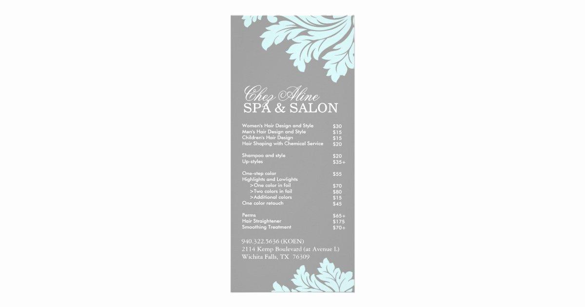 Spa Service Menu Template Beautiful Salon and Spa Service Menu
