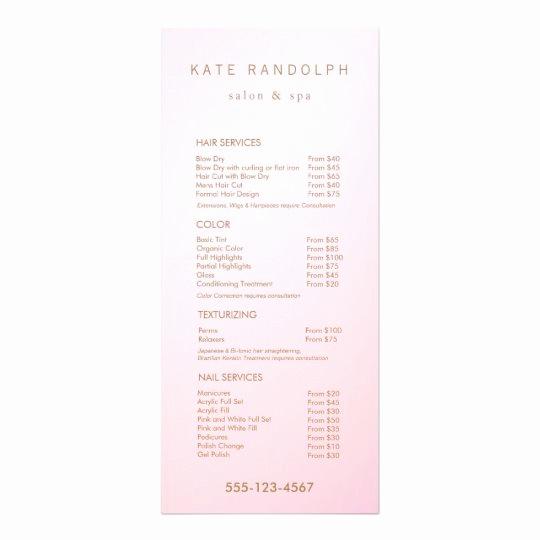 Spa Service Menu Template Fresh Simple Pink Ombre Salon Price List Service Menu