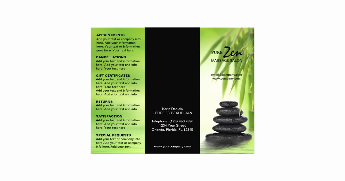 Spa Service Menu Template Fresh Spa Massage Salon Service Menu Brochure Template