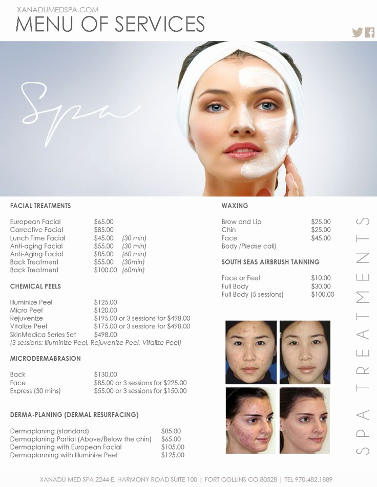 Spa Service Menu Template Luxury Facials Medical Spa Menu Of Services