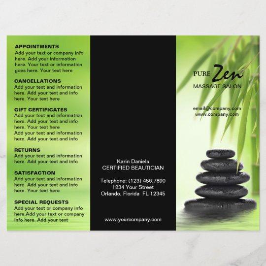 spa massage salon service menu brochure template