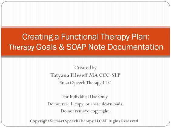 Speech therapy soap Notes Template Elegant Creating A Functional therapy Plan therapy Goals & soap