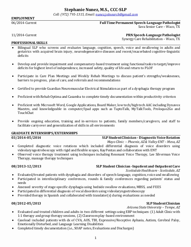 Speech therapy soap Notes Template Elegant Resume