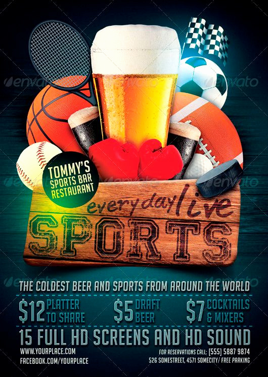 Sports Bar Menu Template Beautiful Sports Bar Flyer Template