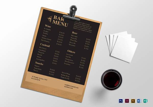 Sports Bar Menu Template Best Of Free 30 Bar Menus Templates In Illustrator