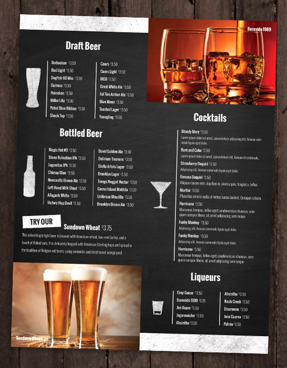 Sports Bar Menu Template Elegant 28 Drink Menu Templates – Free Sample Example format