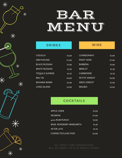 Sports Bar Menu Template Fresh Black with Colourful Drink Icons Bar Menu Templates by Canva