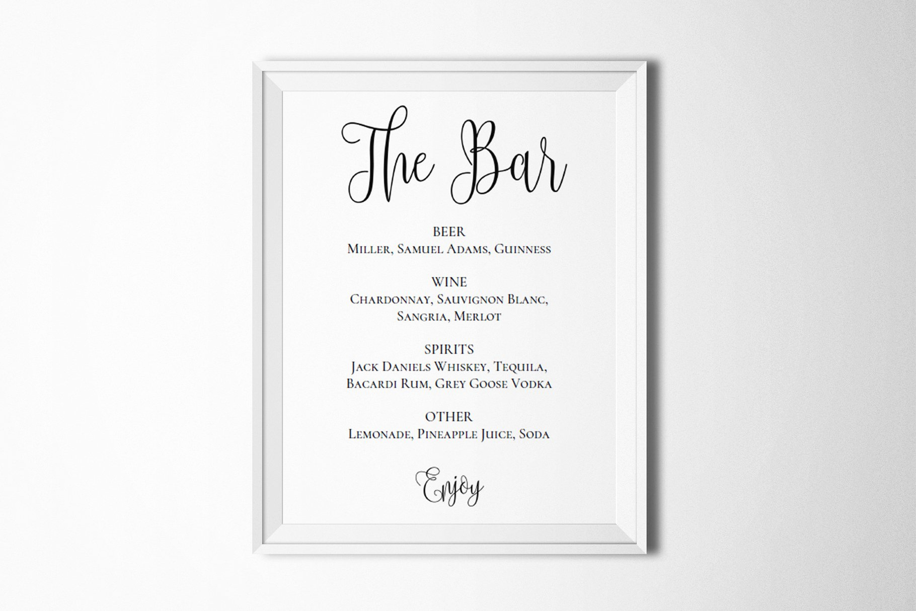 Sports Bar Menu Template Fresh Wedding Bar Menu Template Drink Sign Stationery