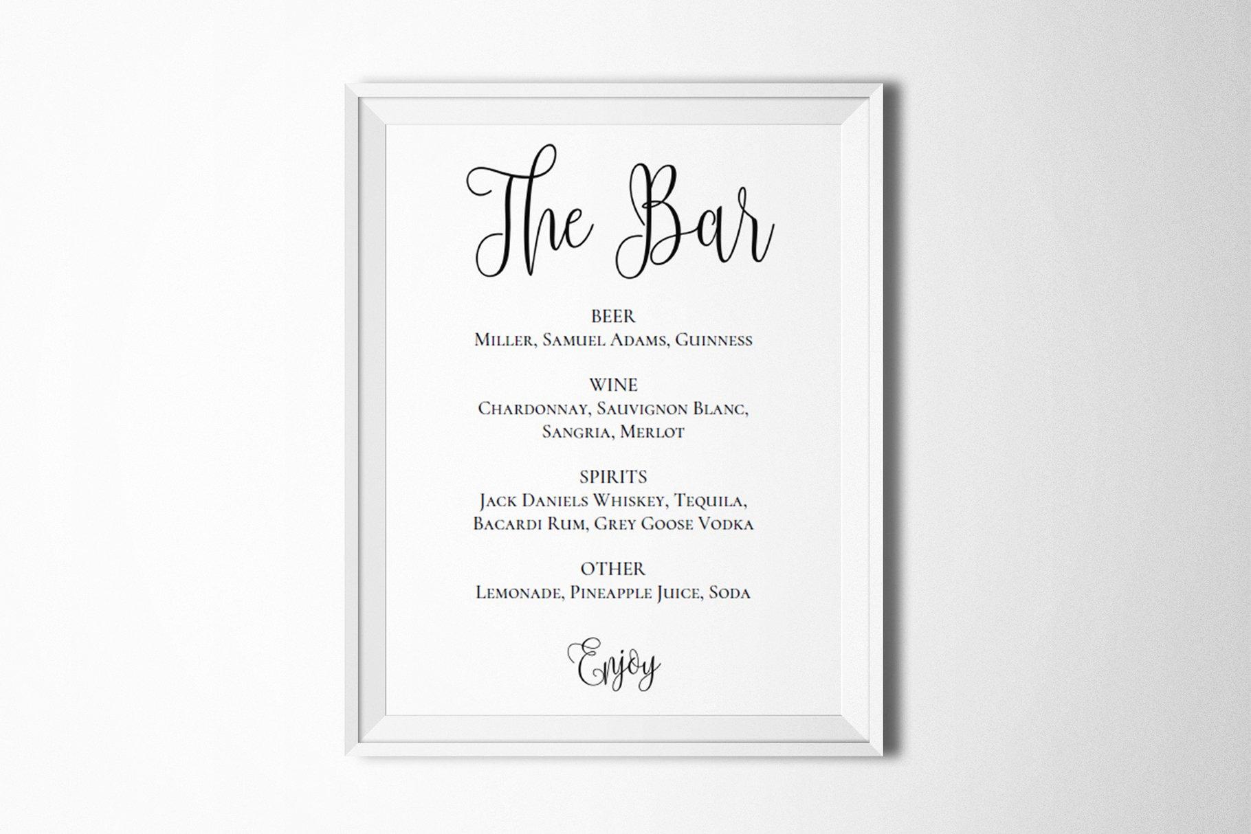 Sports Bar Menu Template Fresh Wedding Bar Menu Template Drink Sign Stationery