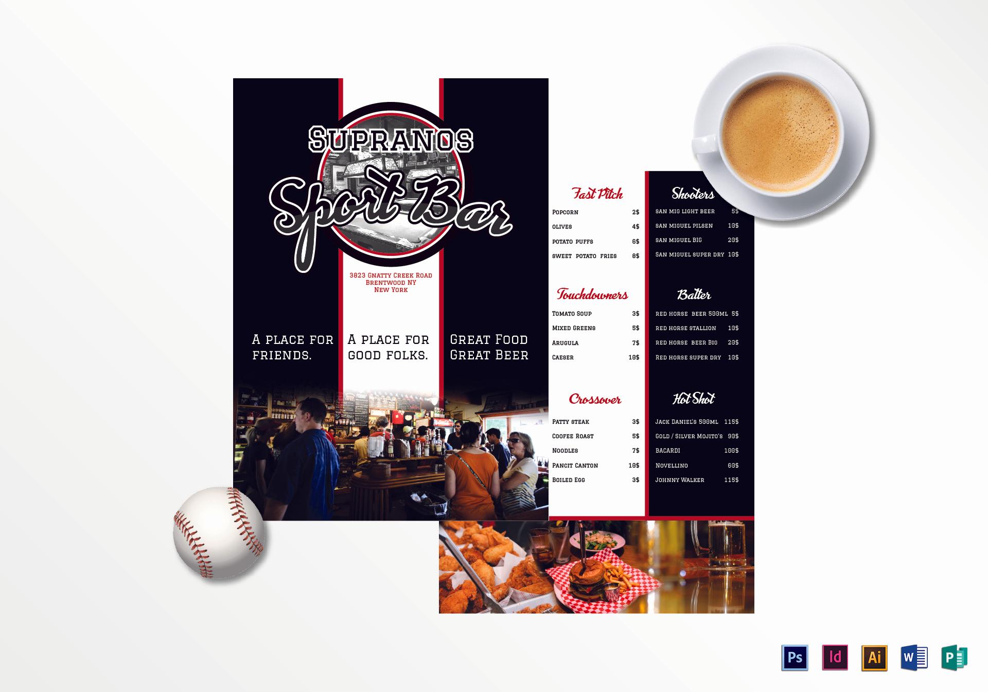 Sports Bar Menu Template Inspirational Sports Bar Menu Design Template In Psd Word Publisher