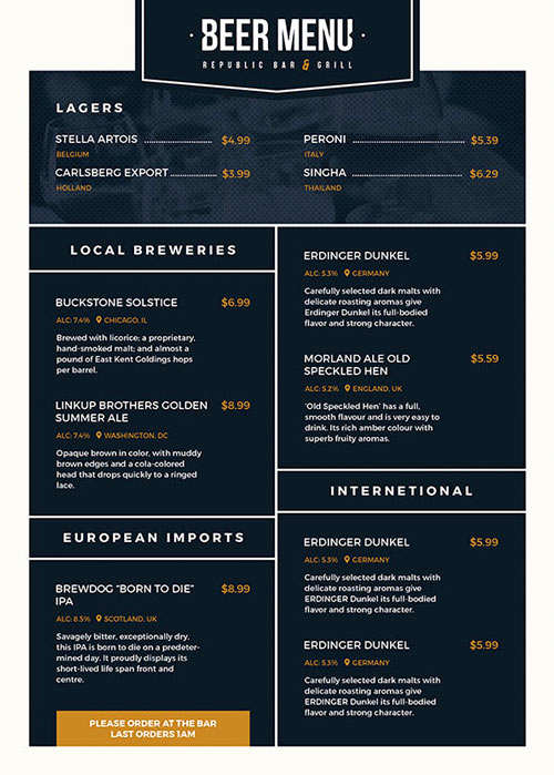 Sports Bar Menu Template Luxury Free Beer Menu Flyer Template Download for Shop