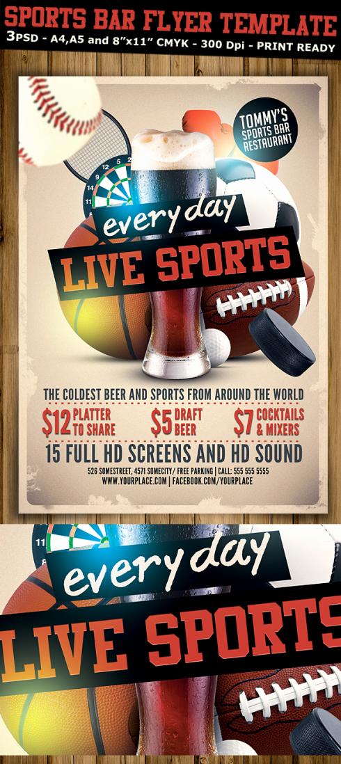 Sports Bar Menu Template Luxury Sports Bar Flyer Template V2