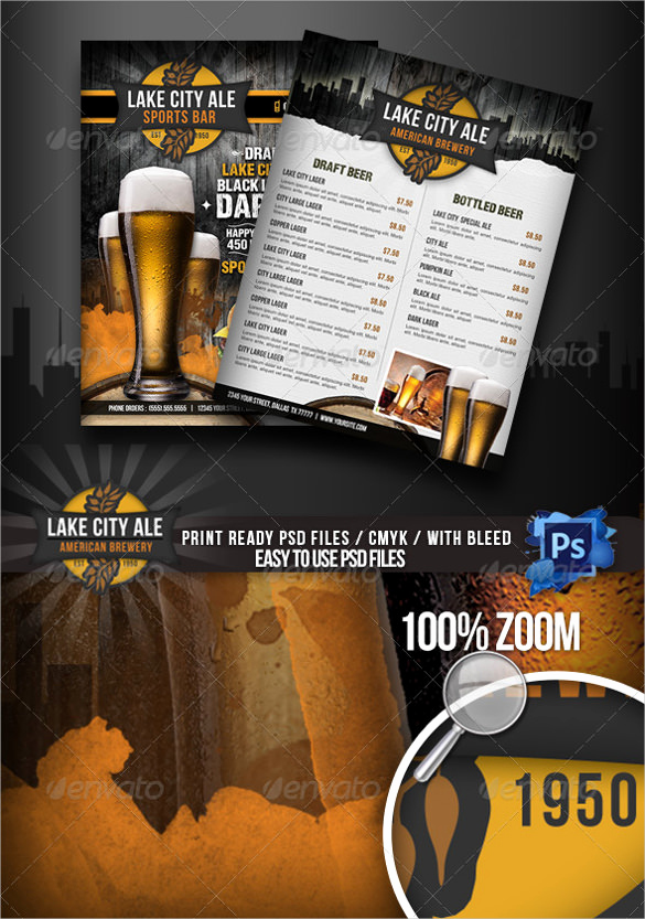Sports Bar Menu Template New 28 Drink Menu Templates – Free Sample Example format