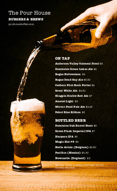 Sports Bar Menu Template New Beer Bar Menu