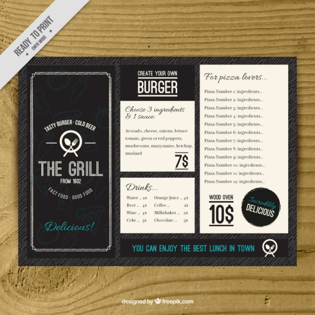 Sports Bar Menu Template New Vintage Burguer Bar Menu Template Vector