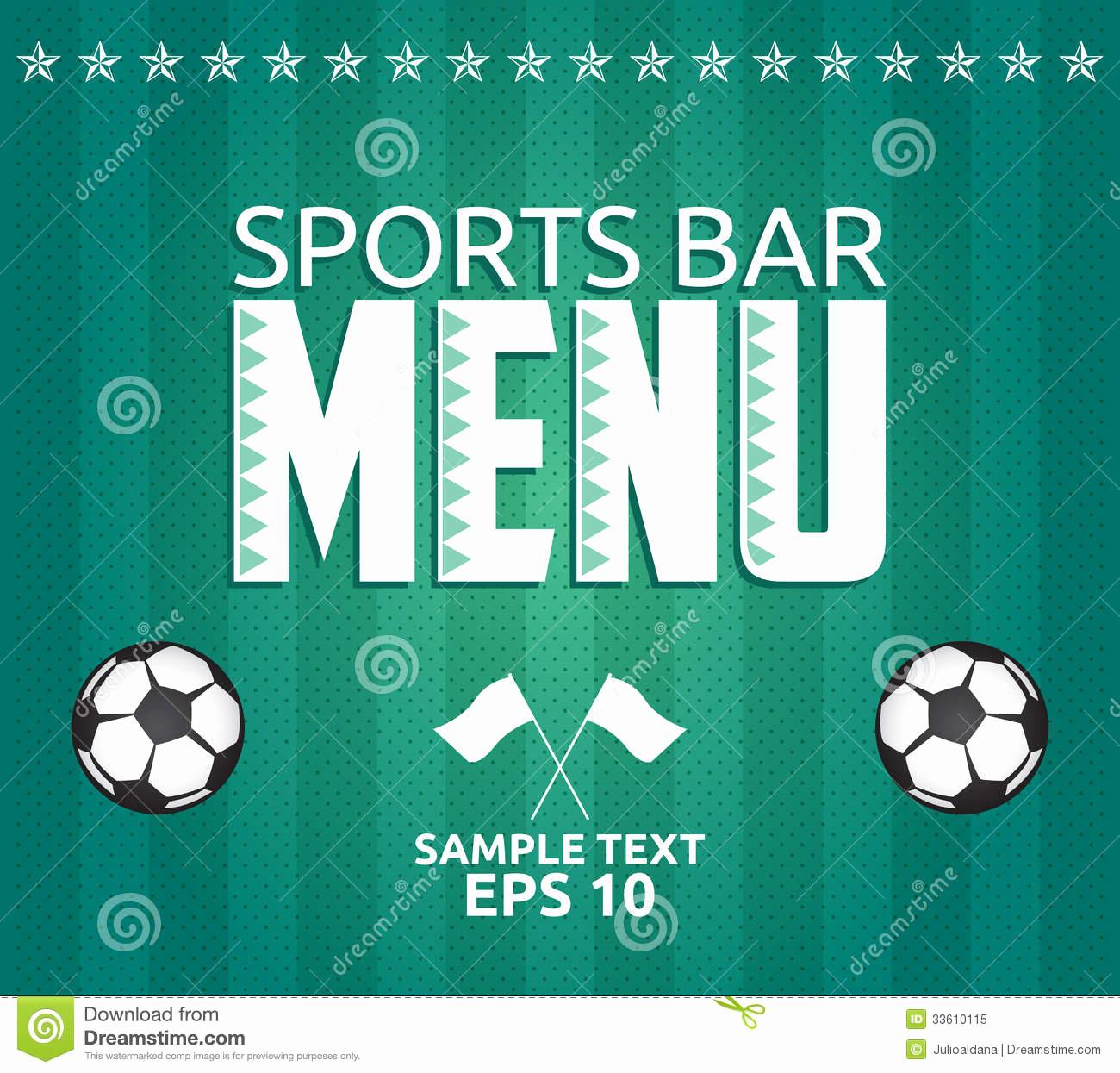 Sports Bar Menu Template Unique Football Sports Bar Menu Card Design Template Royalty