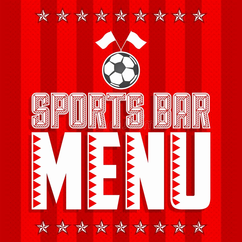 Sports Bar Menu Template Unique Football Sports Bar Menu Card Design Template Stock