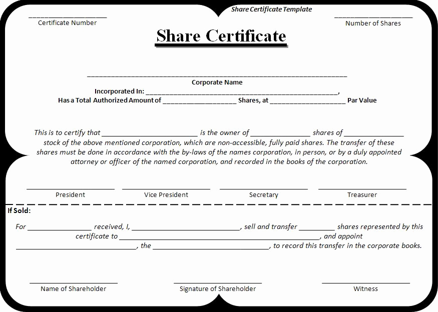 Stock Certificate Template Free Fresh Certificate Templates