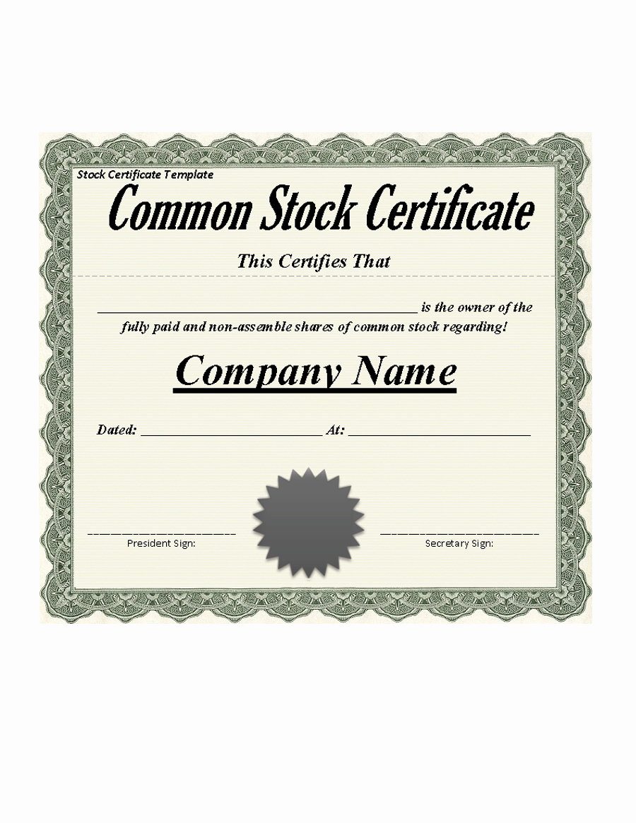 Stock Certificate Template Free Luxury 40 Free Stock Certificate Templates Word Pdf Templatelab
