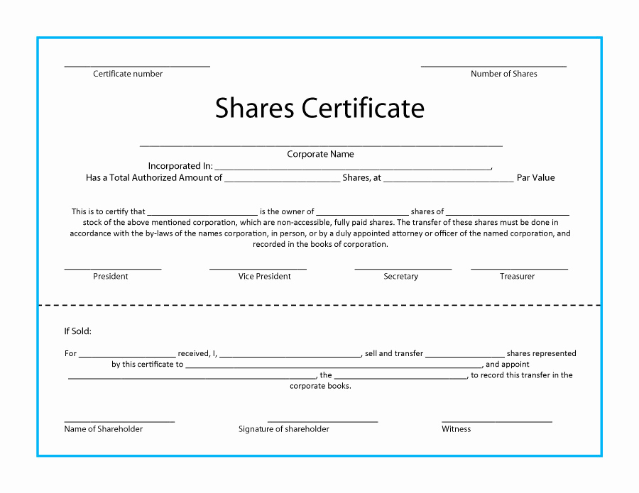 Stock Certificate Template Free New 40 Free Stock Certificate Templates Word Pdf Templatelab