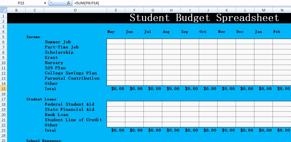 Student Monthly Budget Template Awesome Free Student Bud Spreadsheet Templates Excel