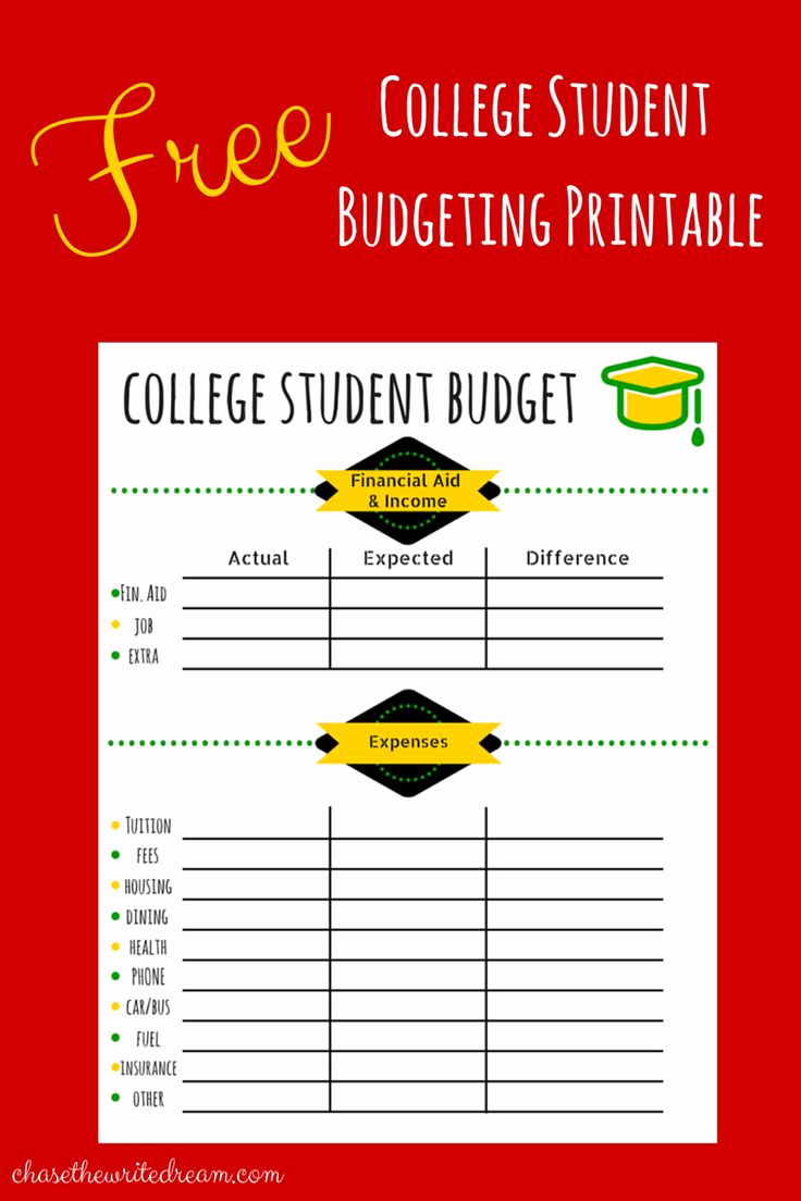 Student Monthly Budget Template Beautiful College Bud Template Free Printable for Students