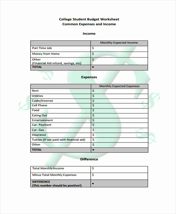 Student Monthly Budget Template Fresh 11 Student Bud Templates Free Sample Example