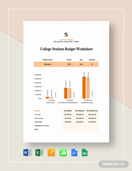 Student Monthly Budget Template Inspirational Free 12 College Student Bud Sample Examples In Word