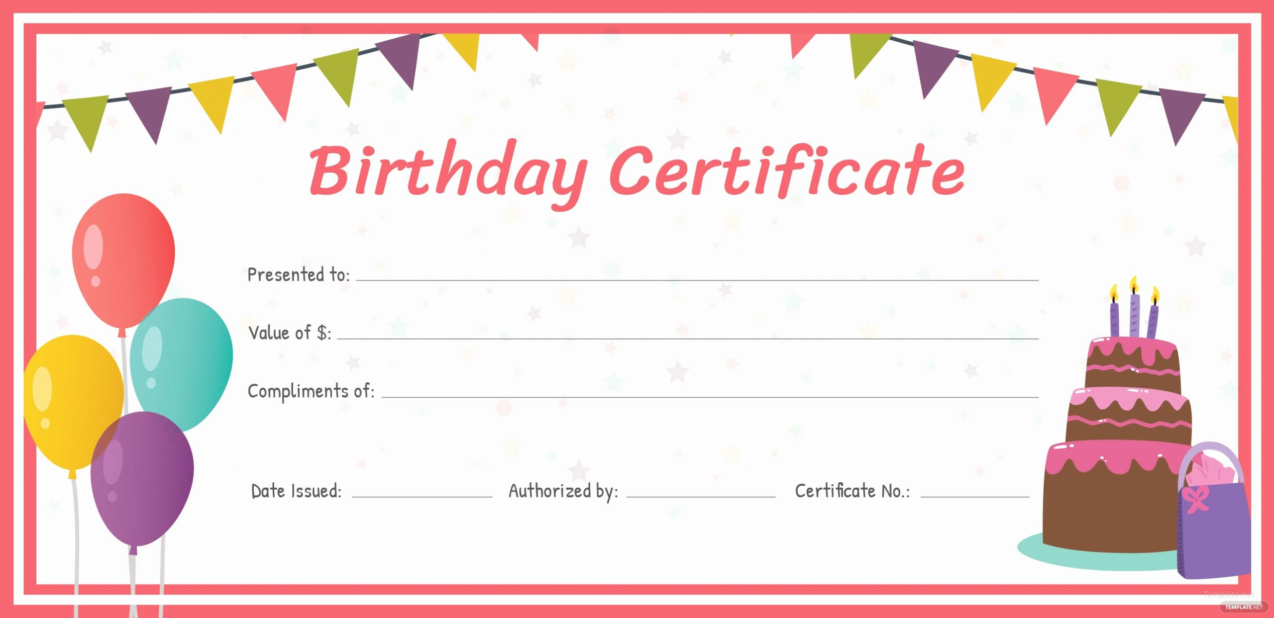 Template for A Gift Certificate Awesome Free Birthday Gift Certificate Template In Adobe