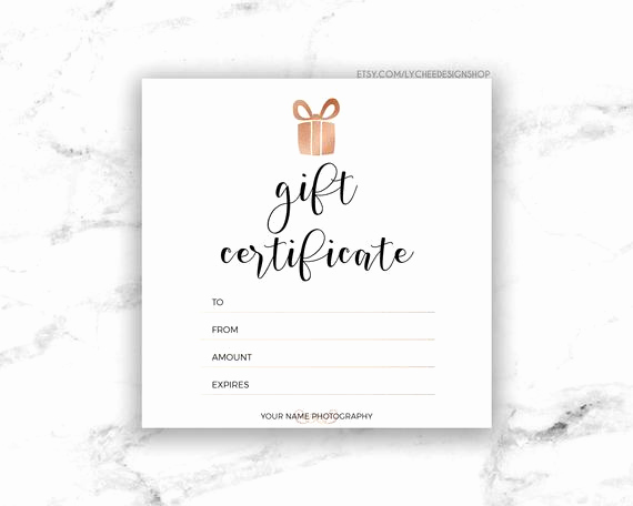 Template for A Gift Certificate Elegant Printable Rose Gold Gift Certificate Template Editable