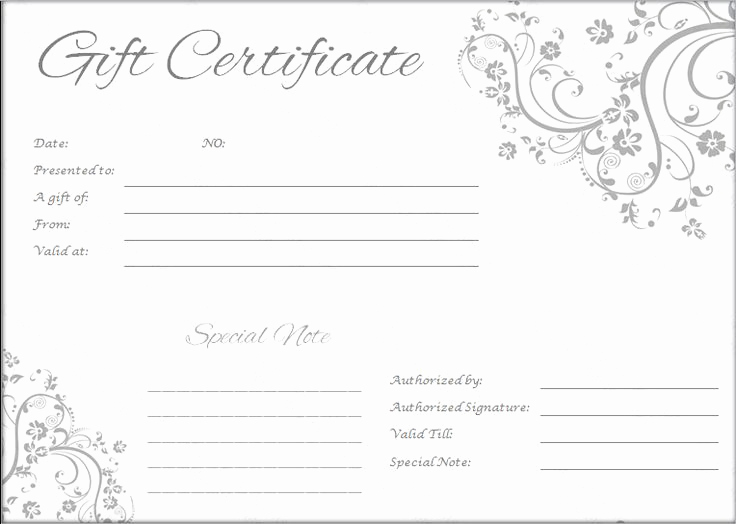Template for A Gift Certificate Fresh Gift Certificate Template