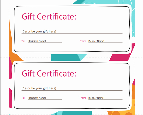 Template for A Gift Certificate New Printable Gift Certificate Templates