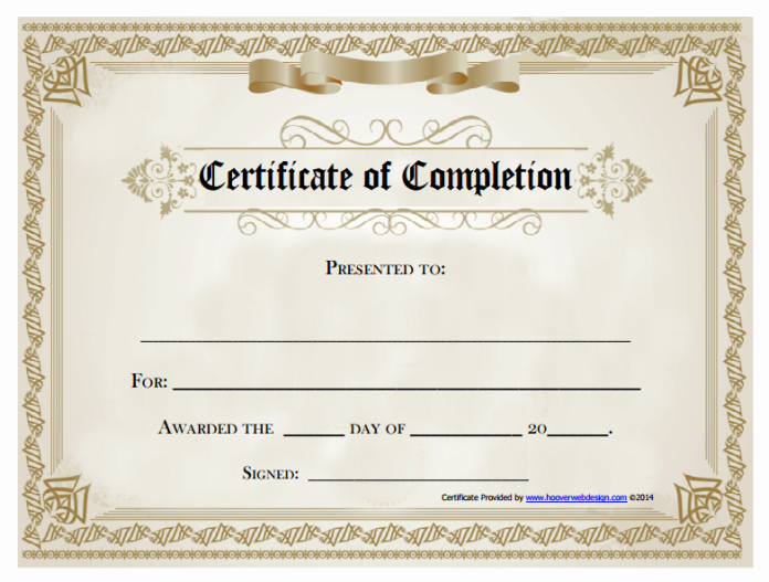 Template for Certificate Of Completion Awesome 21 Certificate Of Pletion Templates