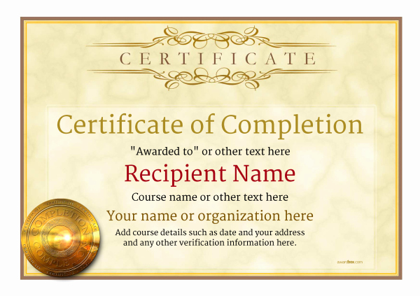 Template for Certificate Of Completion Awesome Certificate Of Pletion Free Quality Printable