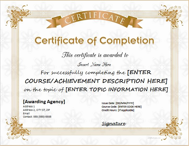 Template for Certificate Of Completion Awesome Certificates Of Pletion Templates for Microsoft Word