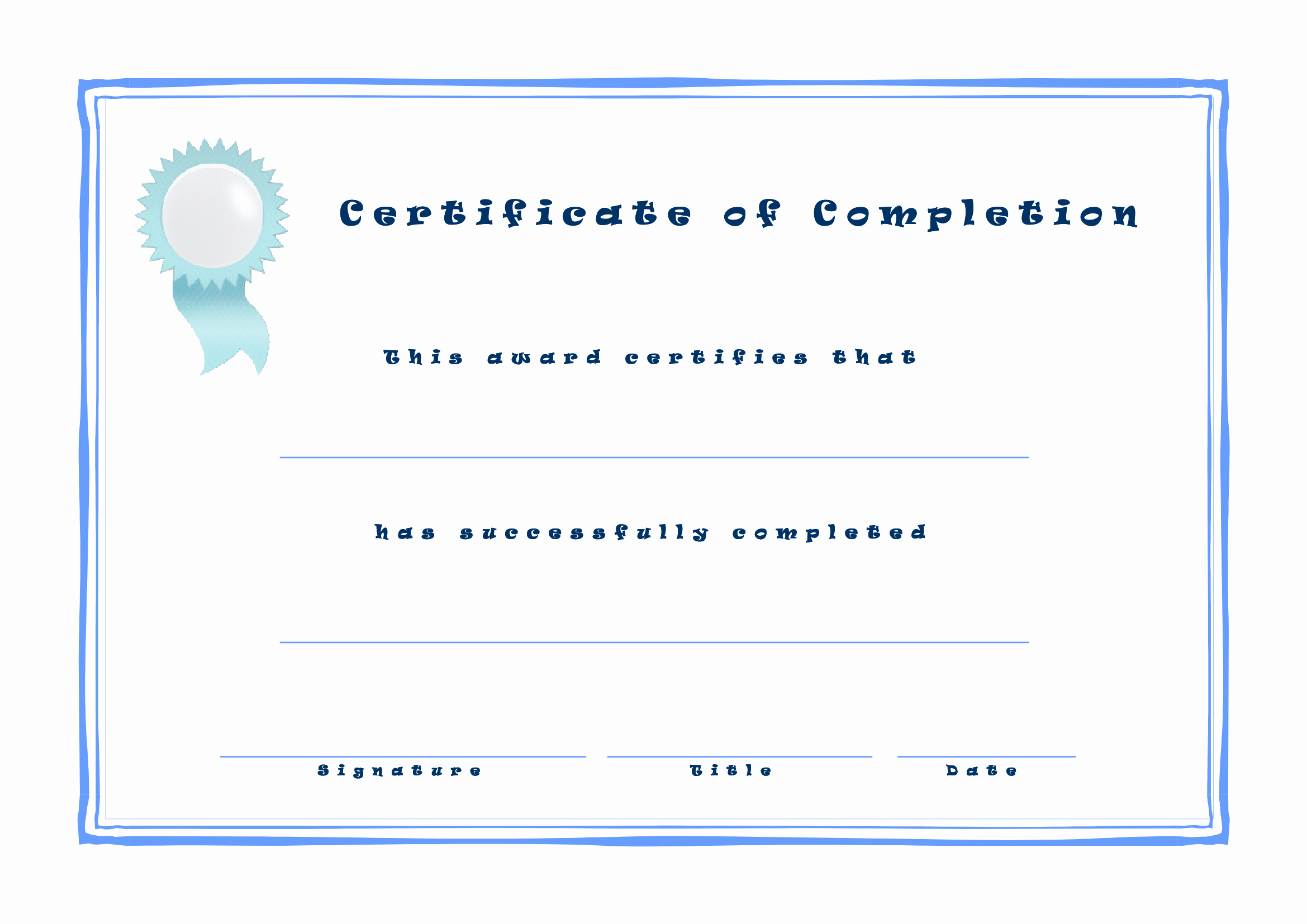 Template for Certificate Of Completion Beautiful Certificates Download Free Business Letter Templates