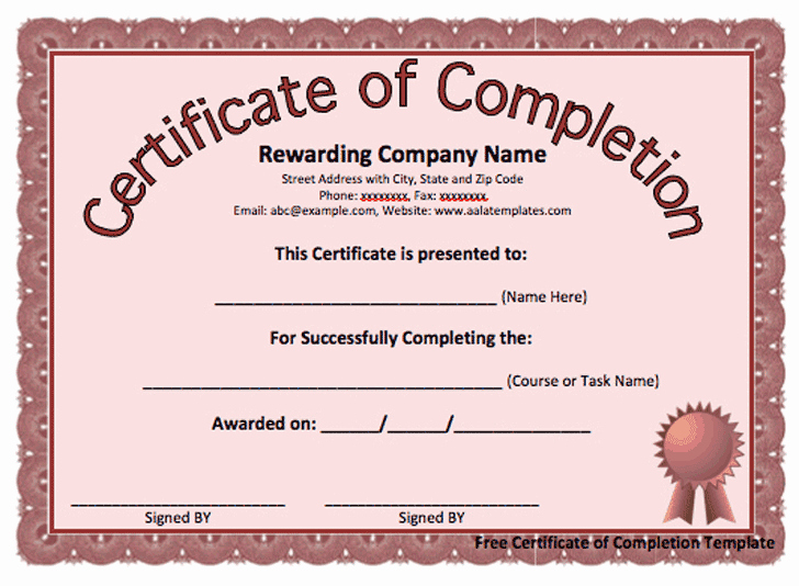 Template for Certificate Of Completion Best Of 13 Certificate Of Pletion Templates Excel Pdf formats