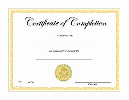 Template for Certificate Of Completion Elegant Certificate Templates