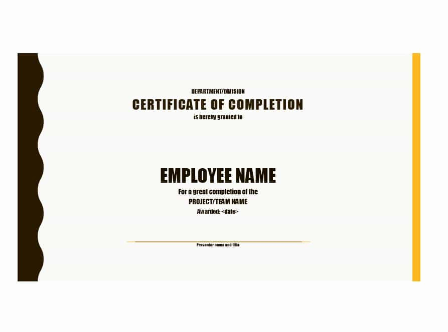 Template for Certificate Of Completion Fresh 40 Fantastic Certificate Of Pletion Templates [word