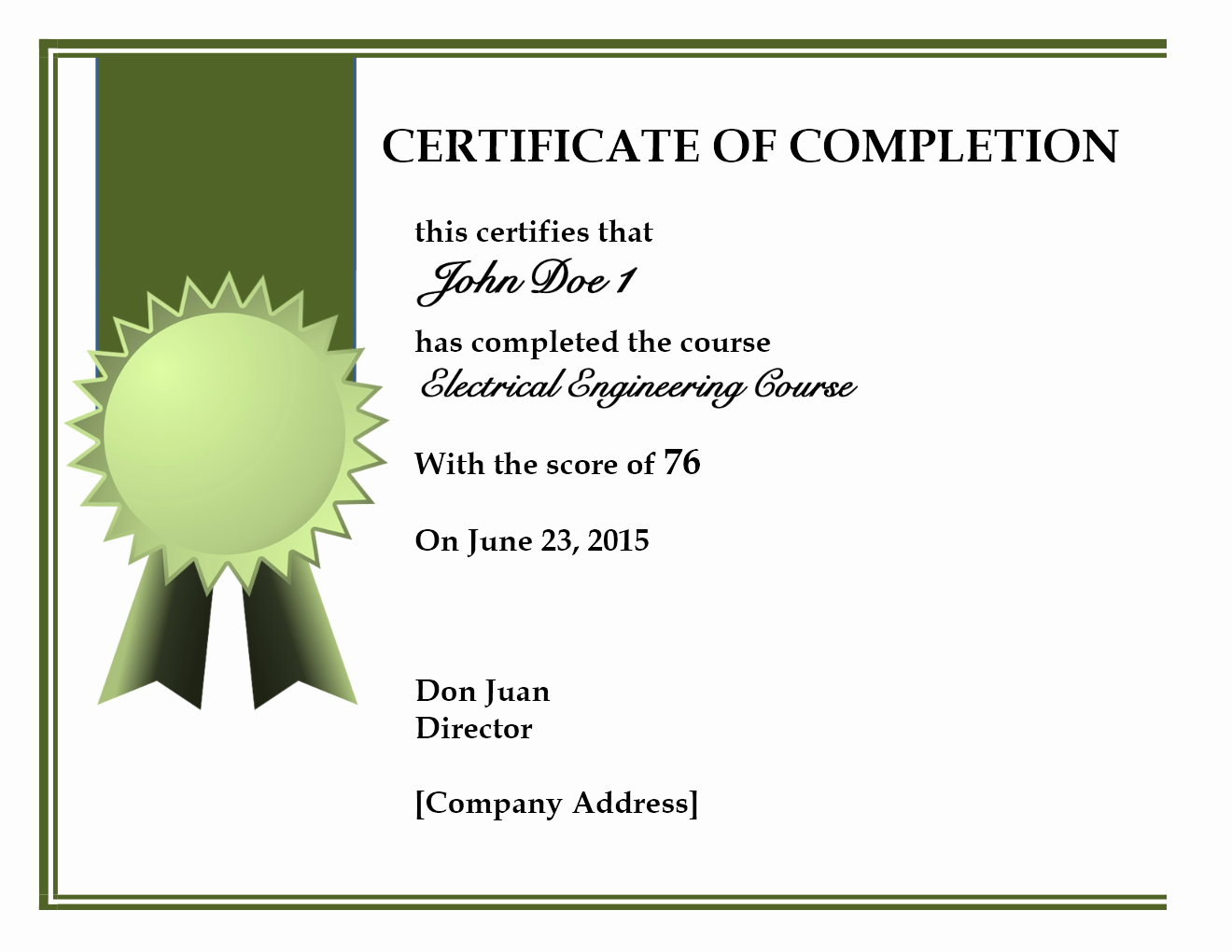 Template for Certificate Of Completion Fresh Certificate Pletion Template Word