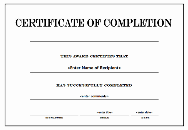 Template for Certificate Of Completion Lovely Printable Certificates Of Pletion