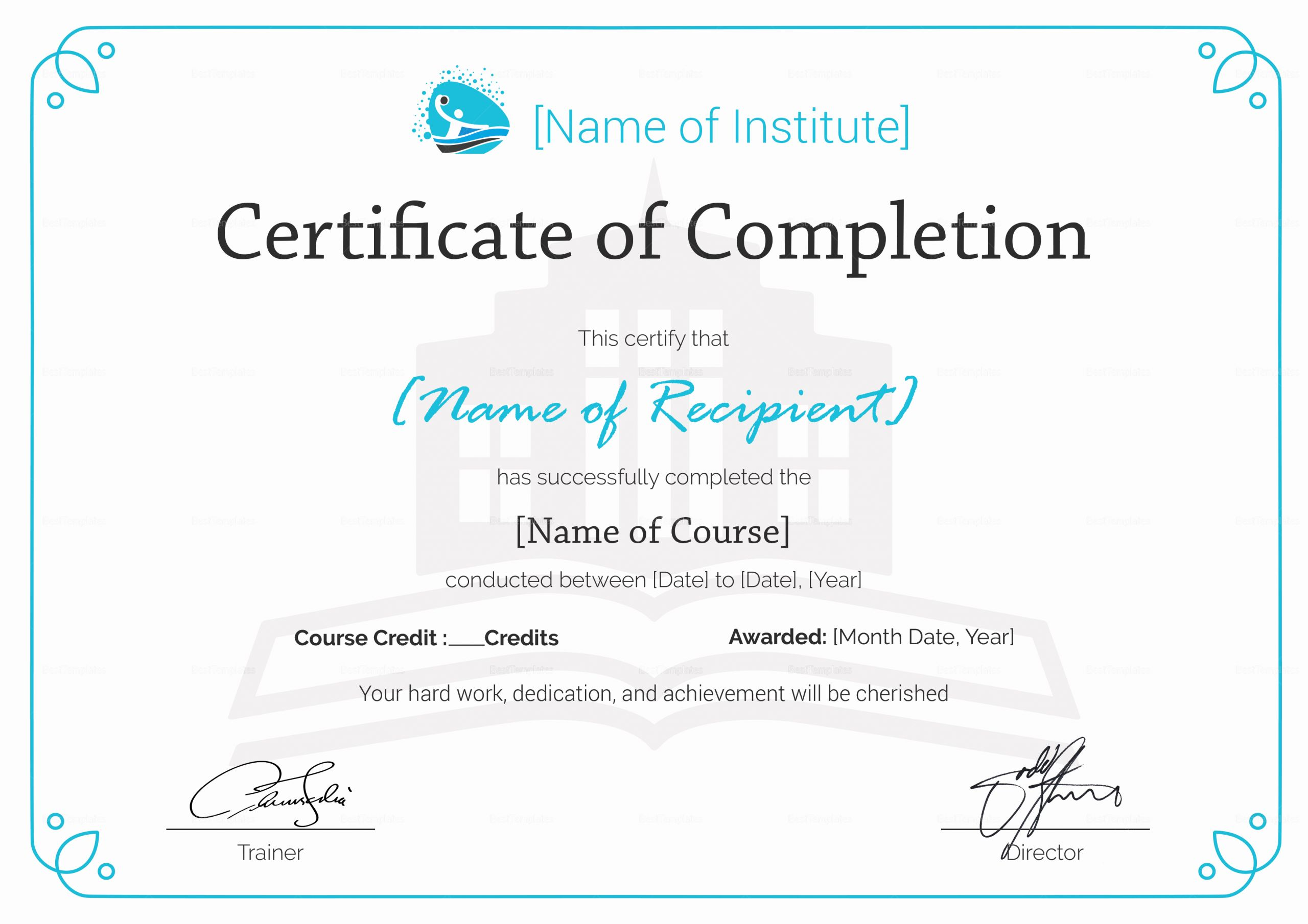 Template for Certificate Of Completion Lovely Training Pletion Certificate Design Template In Psd Word