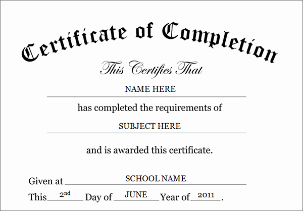 Template for Certificate Of Completion Luxury Printable Certificates Of Pletion